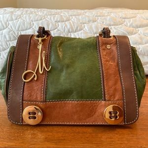 Milly Sophia resin chain bag green and brown
